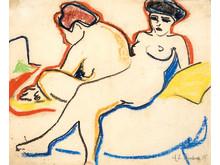 Ernst Ludwig Kirchner: Zwei Akte auf einem Lager (1905). Schwarze Kunstkreide und Farbkreiden auf Papier.  Kunstmuseum Bern, Legat Cornelius Gurlitt  2014.