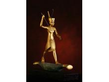 Avbildning av Tutankhamun på papyrusflotte