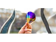 Flexibel organisk solcell, elektroniskt papper och piezoelektrisk textil