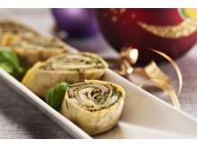 Potetlefser med pesto og bakte grønnsaker