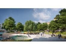 Hamnparken med badet i tävlingsförslaget Koolkajen för Inre hamnen i Norrköping