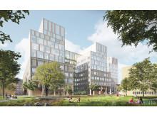 Nya vårdbyggnaden på Malmö sjukhusområde, parken. Illustration: White
