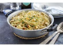 Receptbild Spaghetti carbonara med halloumi