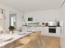 Brf Längtan - 3D-bild av kök och matplats