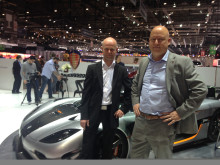 Fredrik Östbye, VP of Business Development, Telenor Connexion and Christian von Koenigsegg at the Geneva Motor Show 2014