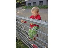 Junge klettert am Gitterzaun, Hochformat