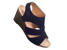 Sober sandalett i blå nubuck.
