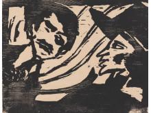 Avtrykk. Tresnitt fra fem århundrer. Emil Nolde, Ung mann og ung kvinne, tresnitt, 1918. / Impressions. Five Centuries of Woodcuts. Emil Nolde, Young Couple, 1918.