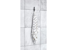 Rod svart kort handduk