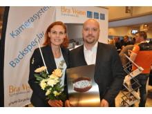 Fotograf: Thomas Dietl. Petra Kling och Martin Lund var på plats och tog emot utmärkelsen Årets entreprenör under Stora Trafiksäkerhetspriset.