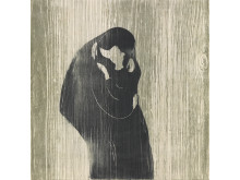 Avtrykk. Tresnitt fra fem århundrer. Edvard Munch, Kyss IV, tontresnitt, 1902. / Impressions. Five Centuries of Woodcuts. Edvard Munch, The Kiss IV, 1902.