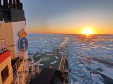 Arktisk sol, is och hav.