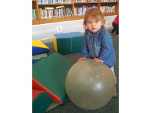 TURBO TOT: Sadie Kaczkowski having fun at Balderstone Library