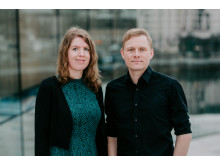 Nestleder Stine Sørlie og styreleder Jørgen Karlstrøm i Norsk Komponistforening. Foto: Renate Madsen