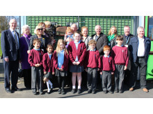 Cllr Metcalfe's family and colleagues are joined by pupils from Whittaker Moss Primary School