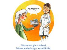 Tecknad bild från antibiotikakampanj i Västerbotten