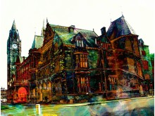 Rochdale Town Hall by artist John Cooke