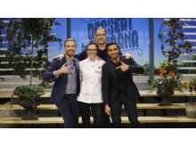 Dessertmästarnas vinnare, Malin Haak, tillsammans med juryns Sebastien Boudet, Magnus Johansson och Roy Fares. Foto: Kanal 5