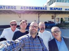 De fem Örebroforskarna på plats på Ikaria. Från vänster syns Allan Sirsjö, Mikael Ivarsson, Alexander Persson, Magnus Grenegård och Nikolaos Venizelos.