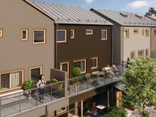 Brf Elins Trädgårdar - 3D-bild av balkonger i flerbostadshus.