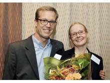Patrik Blomquist, KI Innovations, och Pernilla Videhult Pierre, vinnare av Mentor4Researchs stipendium 2014