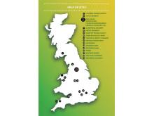 Map of Arla Food UK Dairies