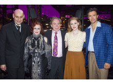 Fred Johanson, Glenn Close, Andrew Lloyd Webber, Michael Xavier and Siobhan Dillon  backstage  at the opening night of Sunset Boulevard. Photo credit Dan Wooller