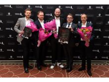 Award winners (with flowers) Kaare Breinholt, Steen Laursen, Nicolas Estrup, and Jordi Roig