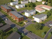 Översiktsillustration av det nya området och de olika huslängorna, BoKlok Solbacka.