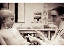 Joel undergoing chemotherapy treatment last year at Birmingham Children's Hospital