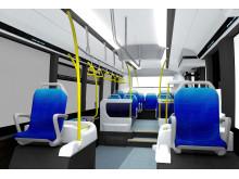 Bussen är av låggolvstyp med flera fällbara stolar och förankringsöglor i golvet