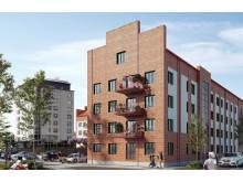 Kvarteret Trädgårn i Svedala kommer att byggas ska byggas i rött tegel med inslag av vita tegelstenspartier för att smälta in i Svedalas arkitektur.