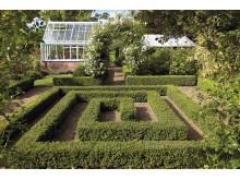 Form och rum med växthus i trädgården