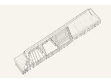 Rekonstruktionstegning af Vingehuset.RED Tegning Claus Rhoden Olesen.