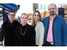 Paul Christakopoulos, professor i biokemisk processteknik, Ulrika Rova, professor i biokemisk processteknik, Anthi Karnaour och Christos Nitsosi, forskare i biokemisk processteknik,  vid Luleå tekniska universitet.