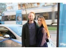 Zebastian Olsson och Cecilia Larm under invigning av UbiGo i Stockholm