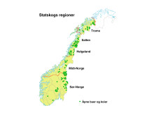 Oversikt over hvor Statskogs åpne koier og buer ligger
