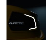 Detaljbild på eldriven kompakthjullastare