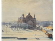 Akvarell av Nordiska museets norra del