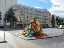 """Konstverket """"Rinnande mönster"""" av Roland Persson. Skiss till Stortorget i örebro"""