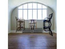Meta Isæus-Berlin, Den Arkadiska Spegeln. Installation, trä, textil, stål, 2019