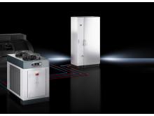 Rittal har markant forbedret køleteknikken i sine kølere til maskin- og kabinetkøling med de nye Blue e chillere i effektklassen 11 til 25 kW.