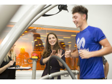 The Duchess of Cambridge, Patron of SportsAid, meets golfer Marco Penge at GSK's Human Performance Lab