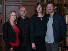 Gruppbild 2 på författarna i Writers Room 2018, från vänster: Felicia Welander, Gunnar Svensén, Karin Janson, Magnus Abrahamsson. Foto: Oskar Eklind