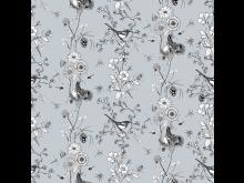 Flower stripes_90x90cm_blågrå kopiera