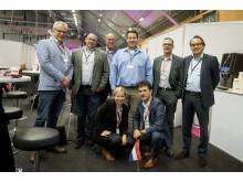 Carmen Quinders, längst fram, tillsammans med delegationen från Nederländerna under Subcontractor Connect.