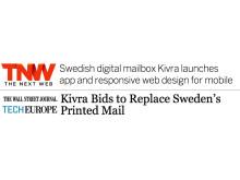The Wall Street Journal och The Next Web uppmärksammar lanseringen av den digitala brevlådan Kivra.