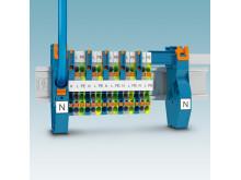 Forsyningsklemmer med Push-in tilslutning til N-samleskinner