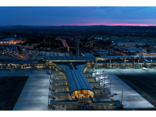 Helikopterbilder nye Oslo lufthavn - kveld