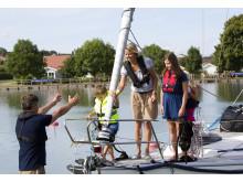Pressbild - Göta kanal, familj på fritidsbåt